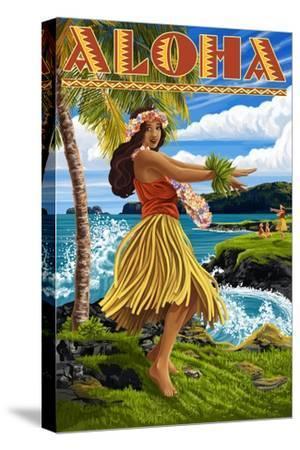Aloha - Hawaii Hula Girl on Coast