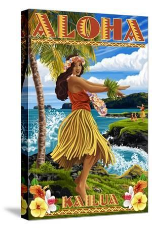 Aloha Kailua, Hawaii - Hula Girl on Coast