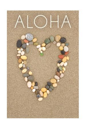 Aloha - Stone Heart on Sand by Lantern Press