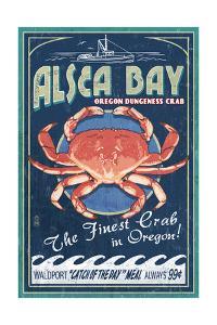 Alsea Bay, Oregon - Dungeness Crab Vintage Sign by Lantern Press