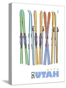 Alta, Utah, Skis in the Snow by Lantern Press