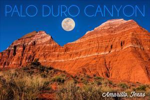 Amarillo, Texas - Palo Duro Canyon - Moon and Red Rock by Lantern Press
