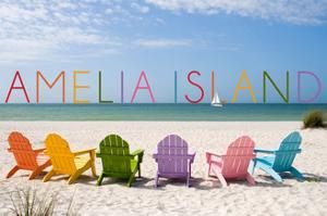 Amelia Island, Florida - Colorful Beach Chairs by Lantern Press
