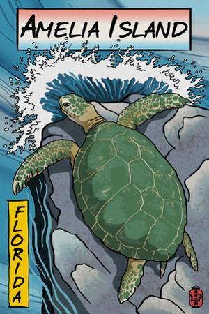 Amelia Island, Florida - Sea Turtle - Woodblock Print