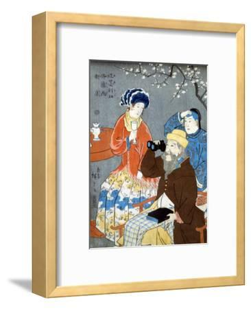 American, French, and Chinese Persons, Japanese Wood-Cut Print