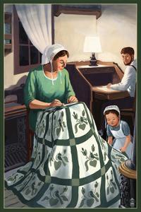 Amish Quiltmaking Scene by Lantern Press