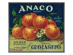 Anaco Apple Crate Label - San Francisco, CA by Lantern Press