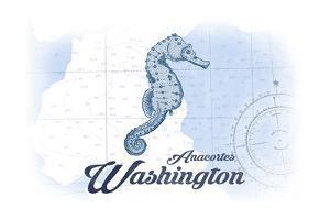 Anacortes, Washington - Seahorse - Blue - Coastal Icon by Lantern Press