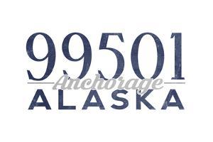 Anchorage, Alaska - 99501 Zip Code (Blue) by Lantern Press