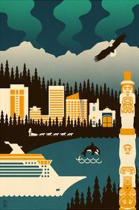 Anchorage, Alaska - Retro Skyline (no text) by Lantern Press