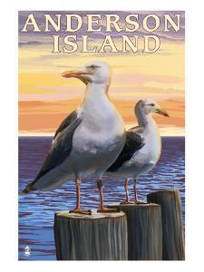 Anderson Island, WA Sea Gulls by Lantern Press