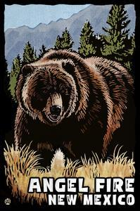 Angel Fire, New Mexico - Grizzly Bear - Scratchboard by Lantern Press