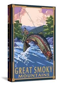 Angler Fly Fishing Scene - Great Smoky Mountains by Lantern Press