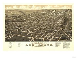 Ann Arbor, Michigan - Panoramic Map by Lantern Press
