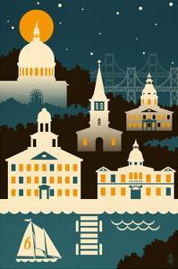 Annapolis, Maryland - Retro Skyline (no text) by Lantern Press