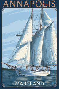 Annapolis, Maryland - Sailboat Scene by Lantern Press