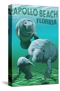Apollo Beach, Florida - Manatees by Lantern Press