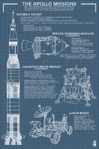 Apollo Missions - Blueprint Poster by Lantern Press