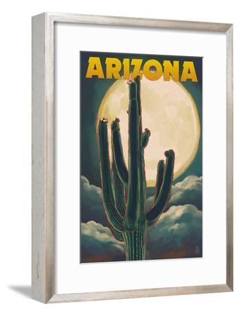 Arizona Cactus and Full Moon