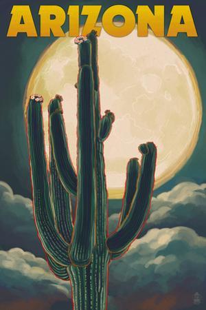 Arizona Cactus and Full Moon by Lantern Press