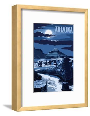 Arizona - Wolves and Full Moon at Night