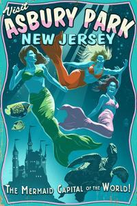 Asbury Park, New Jersey - Mermaids Vintage Sign by Lantern Press