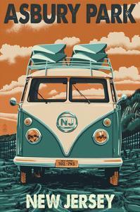 Asbury Park, New Jersey - VW Van by Lantern Press