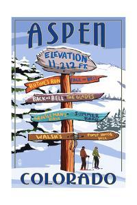 Aspen, Colorado - Ski Signpost by Lantern Press