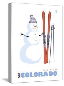 Aspen, Colorado, Snowman with Skis by Lantern Press