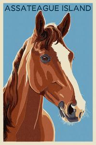 Assateague Island - Horse - Letterpress by Lantern Press