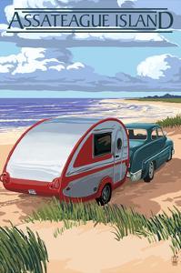 Assateague Island - Retro Camper on Beach by Lantern Press