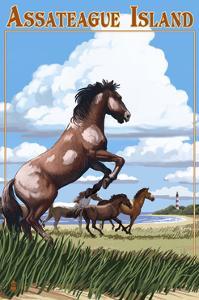 Assateague Island - Wild Horses by Lantern Press