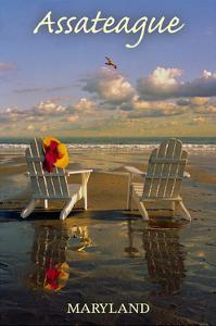 Assateague, Maryland - Adirondack Chairs on the Beach by Lantern Press