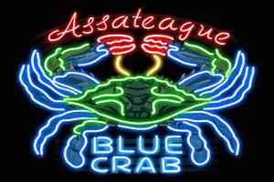 Assateague, Maryland - Blue Crab Neon Sign by Lantern Press