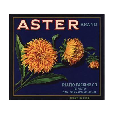 Aster Brand - San Bernardino, California - Citrus Crate Label