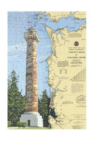 Astoria Column, Oregon - Nautical Chart by Lantern Press