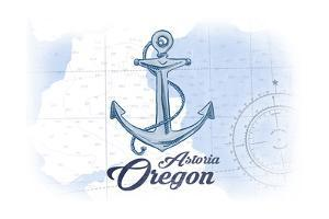 Astoria, Oregon - Anchor - Blue - Coastal Icon by Lantern Press