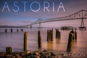 Astoria, Oregon - Astoria Megler Bridge at Sunrise by Lantern Press