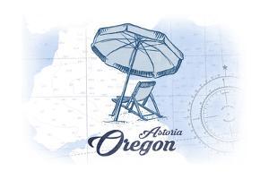 Astoria, Oregon - Beach Chair and Umbrella - Blue - Coastal Icon by Lantern Press