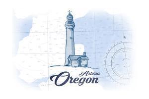 Astoria, Oregon - Lighthouse - Blue - Coastal Icon by Lantern Press
