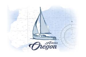 Astoria, Oregon - Sailboat - Blue - Coastal Icon by Lantern Press