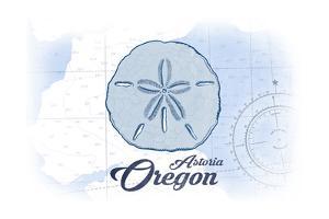 Astoria, Oregon - Sand Dollar - Blue - Coastal Icon by Lantern Press