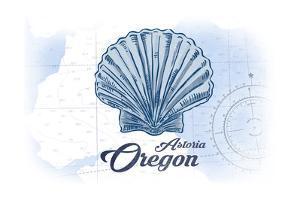 Astoria, Oregon - Scallop Shell - Blue - Coastal Icon by Lantern Press