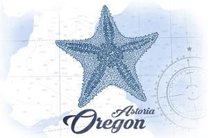 Astoria, Oregon - Starfish - Blue - Coastal Icon by Lantern Press