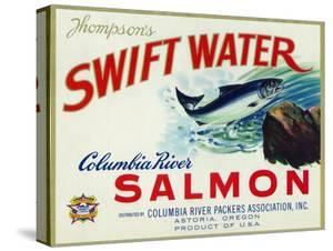 Astoria, Oregon - Thompson's Swift Water Salmon Label by Lantern Press