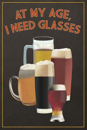 At My Age - Beer Glasses by Lantern Press