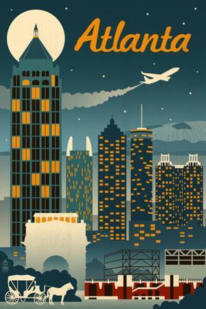 Atlanta, Georgia - Retro Skyline by Lantern Press