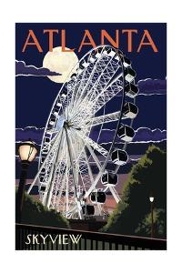 Atlanta, Georgia - Skyview Wheel by Lantern Press