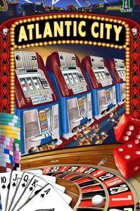 Atlantic City - Casino Scene by Lantern Press