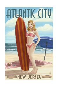 Atlantic City, New Jersey - Surfer Pinup Girl by Lantern Press